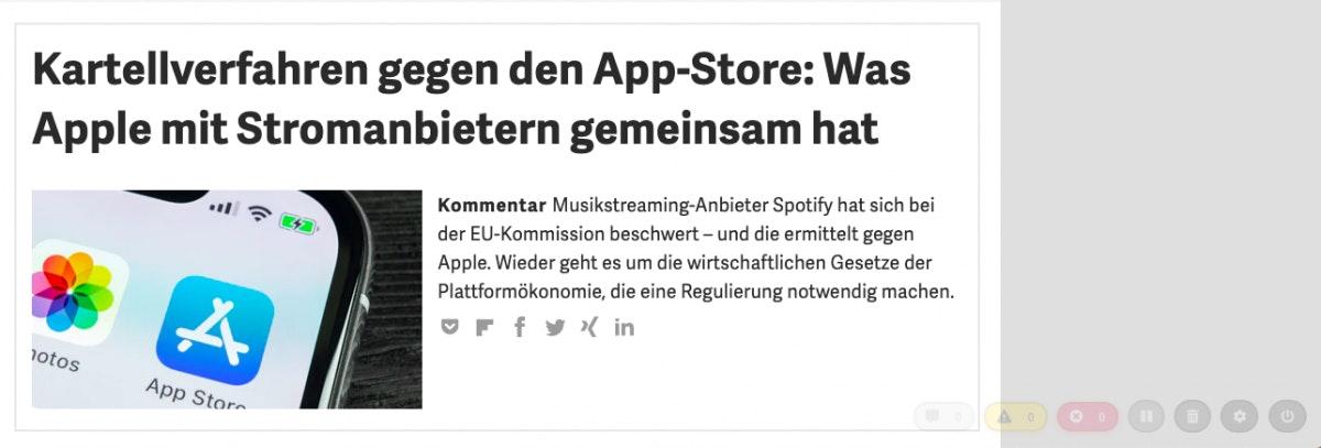 Screenshot t3n.de mit toastlog-Erweiterung