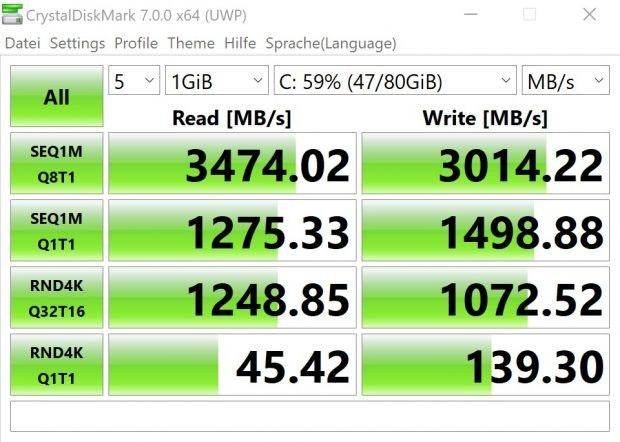 Das Huawei Matebook X Pro (2020) hat eine schnelle Samsung SSD verbaut
