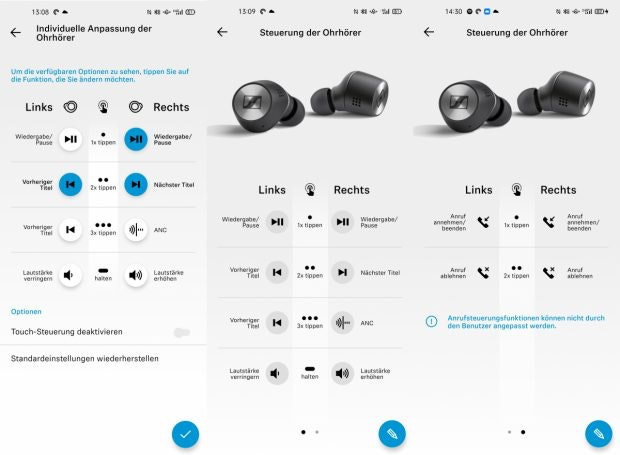 Smart-Control-App der Sennheiser Momentum TW 2