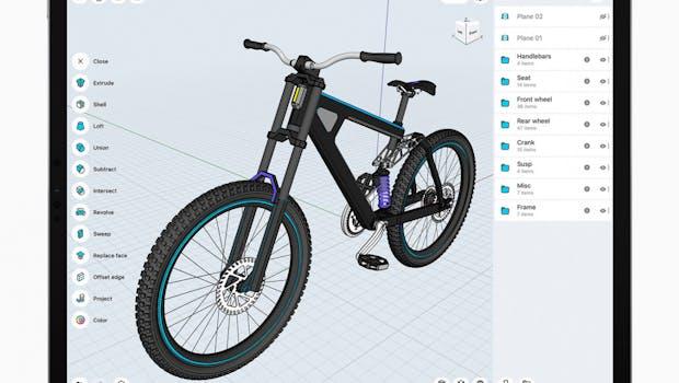 Shapr3D von Shapr3D Zartkoruen Mukodo Reszvenytarsasag ist eine leistungsstarke CAD-App für das iPad, die das Potenzial hat, den Workflow beim architektonischen und technischen Zeichnen drastisch zu verändern. Es wird kein Schreibtisch benötigt, sodass Inspiration jederzeit und überall umgesetzt werden kann. Nur mit iPad und Apple Pencil haben technische Designer Zugriff auf ein solides Modellierungs-Toolset, mit dem problemlos komplexe 3D-Modelle erstellt werden können. Exklusiv für iPad entwickelt, nutzt Shapr3D die Vorteile von ARKit und Drag & Drop. Im Laufe des Jahres wird die App den LiDAR-Scanner verwenden, um automatisch einen genauen 2D-Grundriss und ein 3D-Modell eines Raumes zu generieren, die als Grundlage für die Gestaltung von Umbauten oder Raumerweiterungen verwendet werden können. Der neue Entwurf kann dann mittels AR direkt im gescannten Raum im realen Maßstab in einer Vorschau angezeigt werden. (Screenshot: Apple)