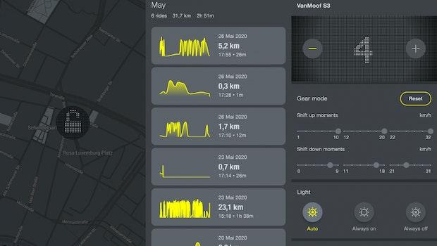 Ein Blick in die Vanmoof-App. (Screenshot: t3n)