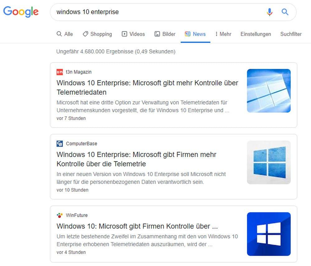 Das neue Layout von Google-News ist aufgeräumter, zeigt aber auch weniger Ergebnisse an (Foto: Patrick Büttgen/Screenshot).