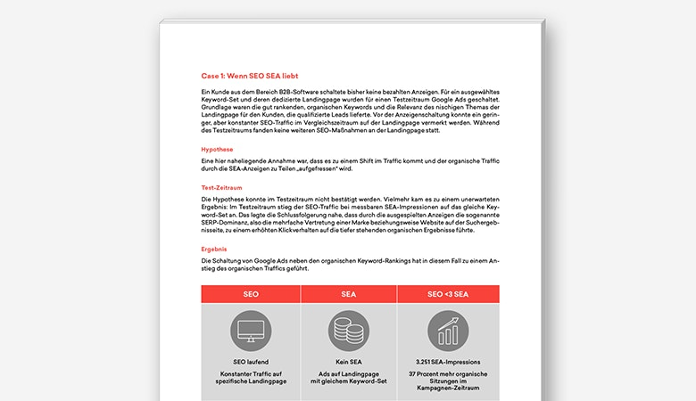 Eine Inhaltsseite des neuen t3n Guides mit der Kölner Online-Marketing-Agentur morefire, der die Verzahnung von SEO und SEA zum Thema hat