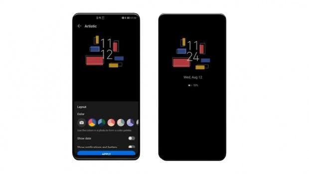 EMUI 11 bringt schicke Alway-on-Display-Styles. (Screenshot: t3n)