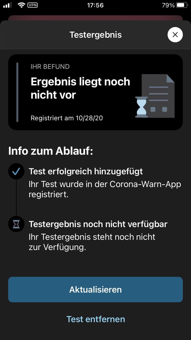 Corona App Testergebnis Dauer