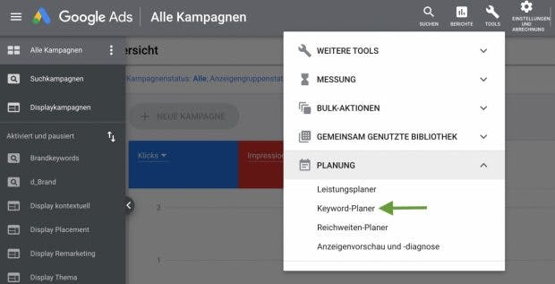 Google Keyword Planner in the Ads account menu
