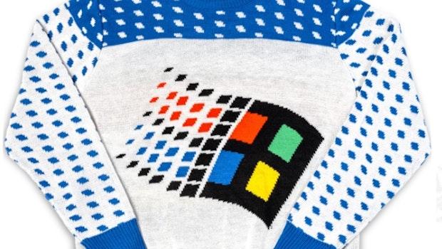 Der Klassiker von 2018: Microsofts Ugly-Sweater im Windows-95-Style. (Screenshot: Microsoft/t3n)
