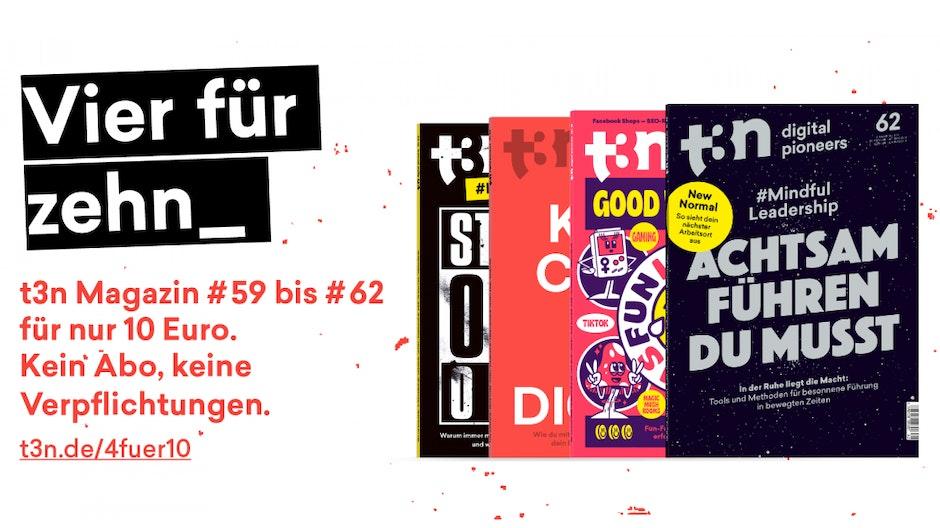Frühjahrs-Deal: Schnapp dir die t3n-Ausgaben #59 bis #62 für nur 10 Euro!