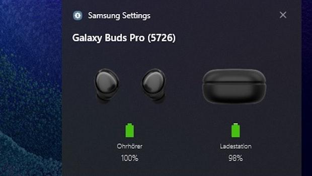 Samsungs Galaxy Book Pro 360: Die Ohrstöpsel des Herstellers sind einfach zu koppeln. (Screenshot: t3n)